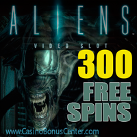 300 Free Spins on the hot new slot Aliens