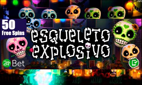 50 daily Free Spins - Esqueleto Explosivo